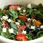 Fresh Spinach & Summer Fruit Salad with Reduced Balsamic Dressing