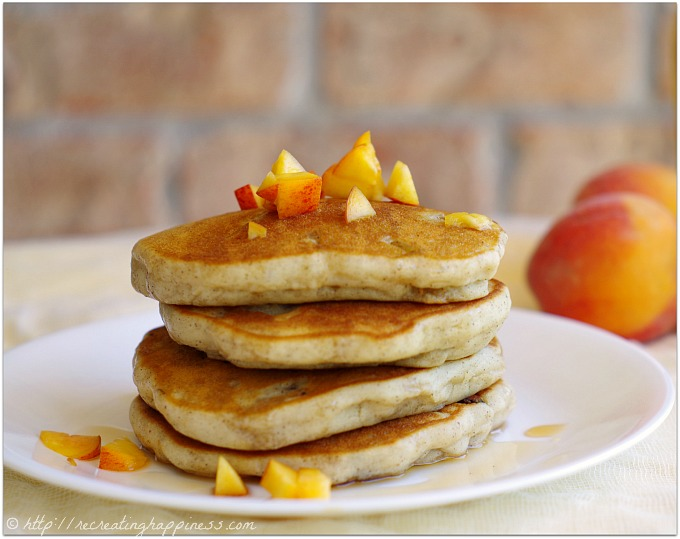 Gluten free ginger spiced peach pancakes. No need to peel the peaches!