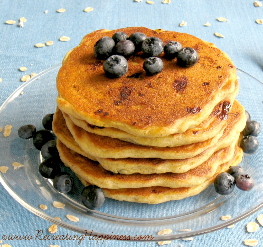 Gluten Free Buttermilk Oatmeal Pancakes with Blueberries
