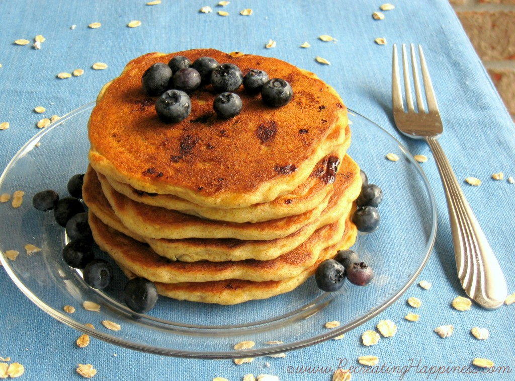 Buttermilk Blueberry Oat Pancakes