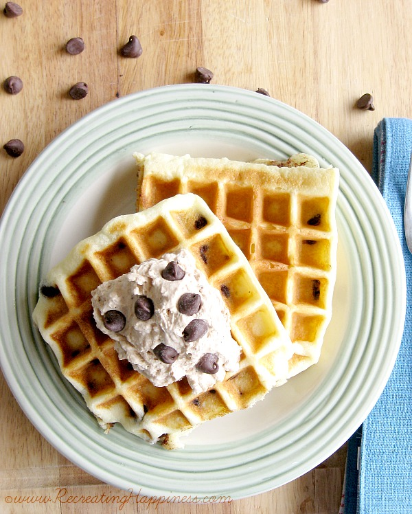 {gluten free} Chocolate Chip Waffles with Peanut Butter & Chocolate Whipped Cream!