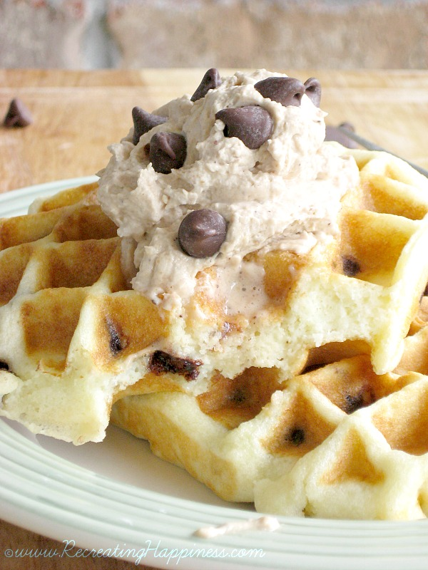 {gluten free} Chocolate Chip Waffles | Peanut Butter & Chocolate Whipped Cream!
