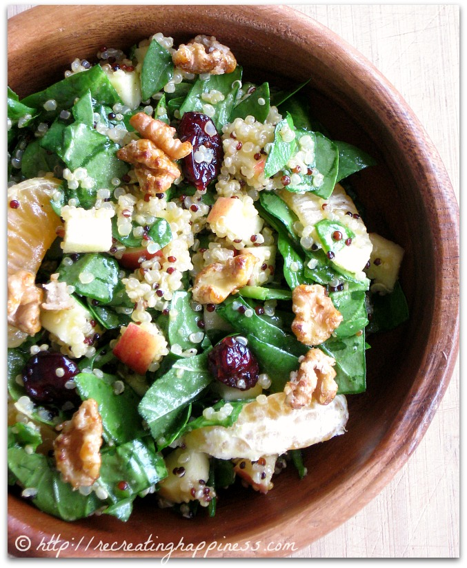 Spinach & Quinoa Winter Salad:  apples, walnuts, cranberries, oranges, and chia seeds | Nutrient Packed! | http://recreatinghappiness.com