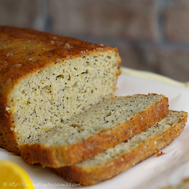 {gluten free} Meyer Lemon Poppy Seed Bread - super moist, made with buttermilk & a lemon syrup poured over the top