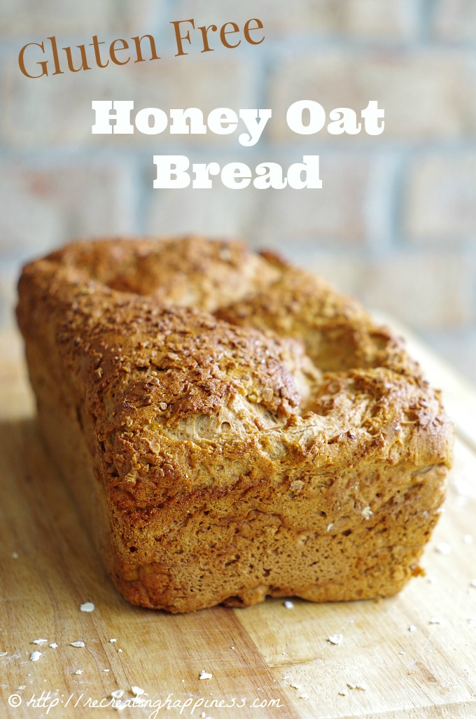 "Gluten free Honey Oat Bread!  Sweet crust, perfect ""gluten-like"" texture.  Perfect with butter & jam or makes one heck of a sandwich! (thinking: turkey, avocado, tomato, cheese...mmm)"