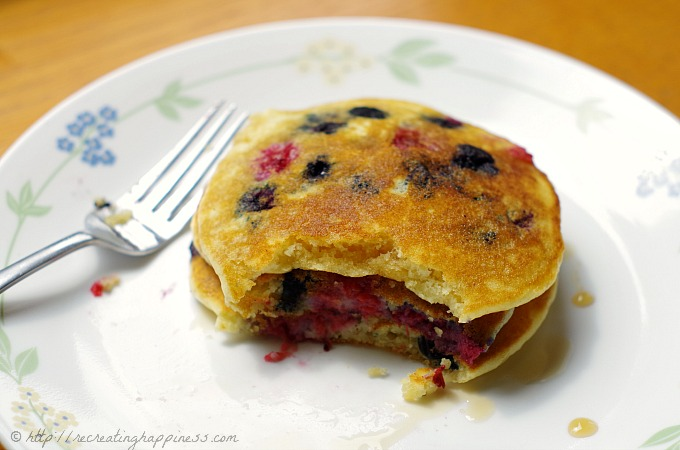 Gluten Free Double Berry Pancakes - easy & quick with fresh raspberries and blueberries