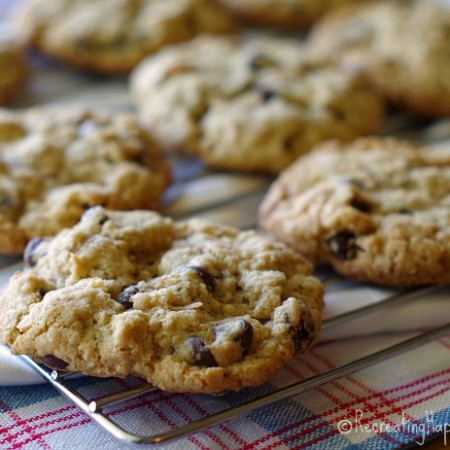 Cowboy Cookies made gluten free: chocolate chips, raisins, oats, coconut
